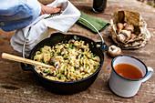 Vegan mushroom pasta a la Stroganoff, cooked in a Dutch oven