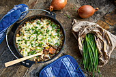 Vegan Shepherd's Pie with lentils and mushrooms, cooked in a Dutch oven