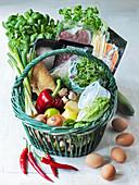 Basket of vegetables and groceries