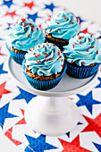 4th of July chocolate cupcakes with cream cheese