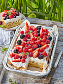 Tray sponge cake with marchpane and summer fruits