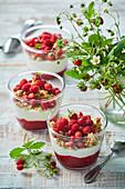 Summer dessert with wild strawberries
