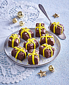 Chocolates with bows (for Christmas)