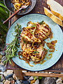 Grilled pork neck with caramelized onion