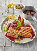 Grilled fish with leek and red wine