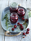Spicy sour cherries - compote