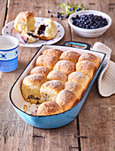 Sweet pastries (buns) with blueberries
