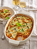 Zucchini lasagne with minced beef meat