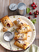 Pastries with cherries