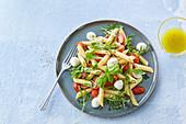 Pasta salad Caprese with mozzarella