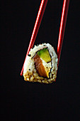Philadelphia sushi roll with salmon and avocado