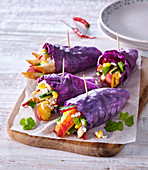 Red cabbage rolls with chicken breast