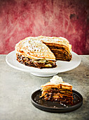 Build your own chocolate and peanut butter pancake cake
