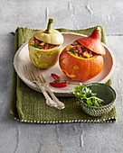 Pumpkin with mincemeat stuffing