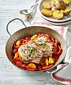 Pork steak with stewed red pepper