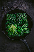 Stuffed savoy cabbage with minced mea