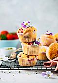 Strawberry and yoghurt muffins
