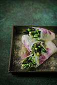 Green Spring rolls with asparagus