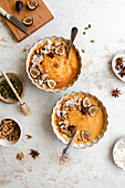 Pumpkin smoothie bowl with toppings
