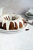 Gingerbread bundt cake with glaze