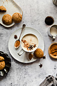Gingerbread latte with gingersnap cookie