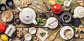 Various tea and teapots composition, dried herbal, green, black tea and matcha tea