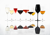 Different wines and sparkling wine in different glasses