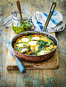 Goat's cheese Frittata with spinach served with pesto