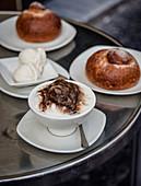 Italian Capuccino Ghiaciatto and Brioche served at Cafe Sicllia