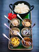 Laotisches Reis mit verschiedenen süssen Toppings