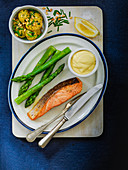 Pan Roasted Scottish Salmon with Asparagus and aioli served with new potatoes