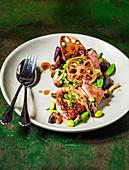 Thai Duck and Mushrooms, with Lotus root and edamame beans