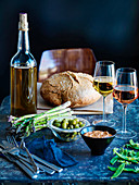selection of food wine olive oil and bread from Provence