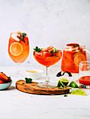 Rhubarb lemonade with strawberries