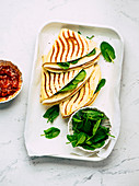 Quesadillas with chicken and spinach