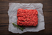 Raw minced meat on paper