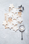 Star-shaped butter cookies, dusted with powdered sugar