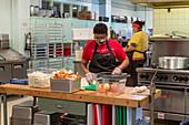 Volunteers preparing meals, Detroit, Michigan, USA