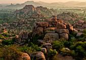 Early morning over a rocky landscape, Hampi, India
