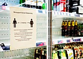 Social distancing sign in a shop