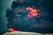 Volcanic lightning, Iceland, April 2010