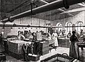 Bundling yarn in a mill, 19th century illustration