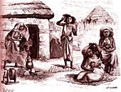 Somali women doing personal care, 19th century illustration