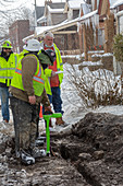 Gas line replacement, Detroit, Michigan, USA
