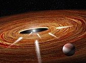 Exocomets plunging into a young star, illustration