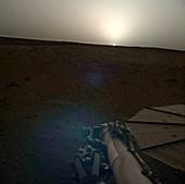 NASA InSight imaging a sunset on Mars