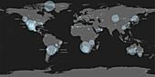 Map of known meteorite landings