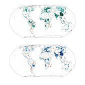 Maps showing vegetation cover offsetting global warming