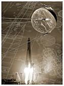 Sputnik 1, composite image