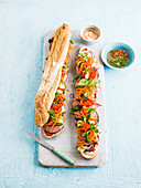 Banh mi with beef and vegetables